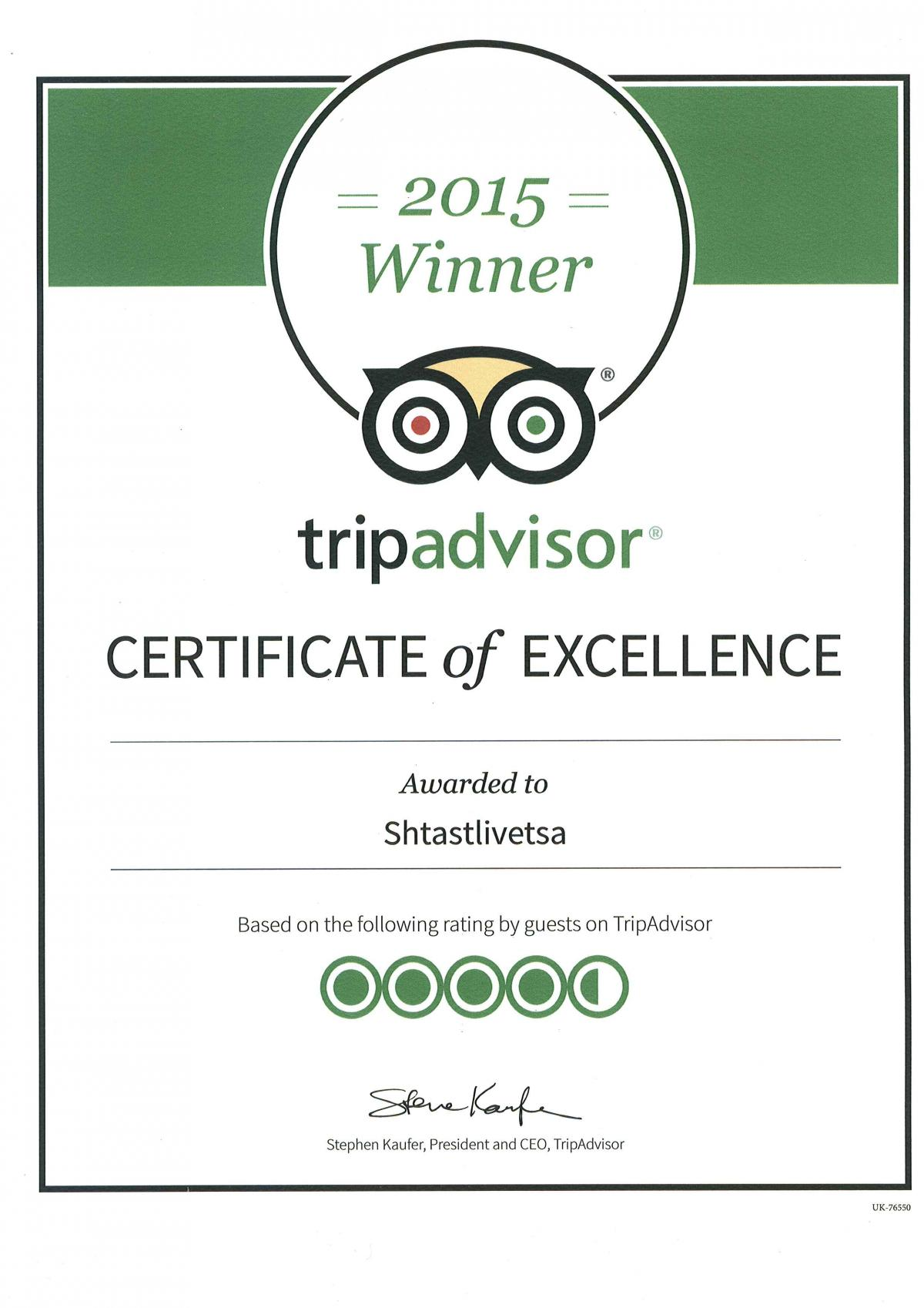 Certificate of Excellence - Tripadvisor 2015