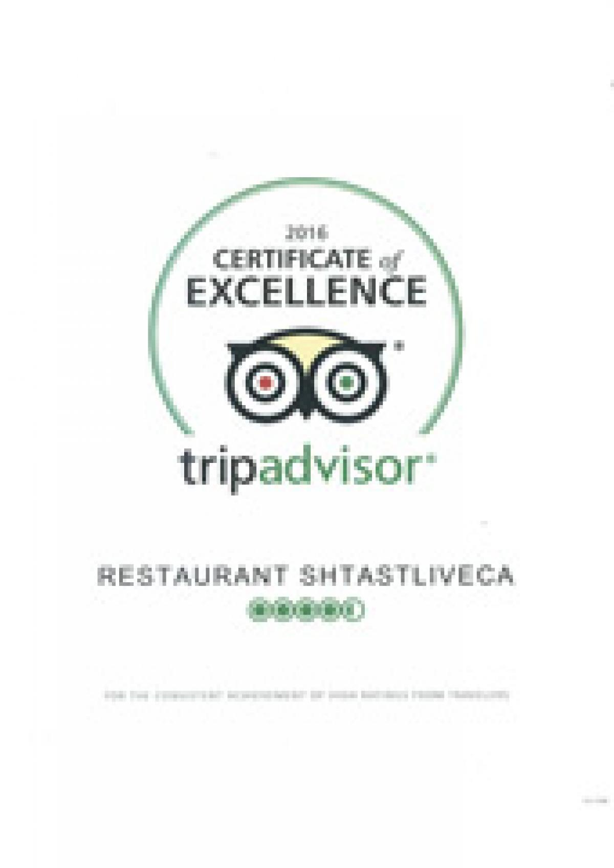 Certificate of Excellence - Tripadvisor 2016