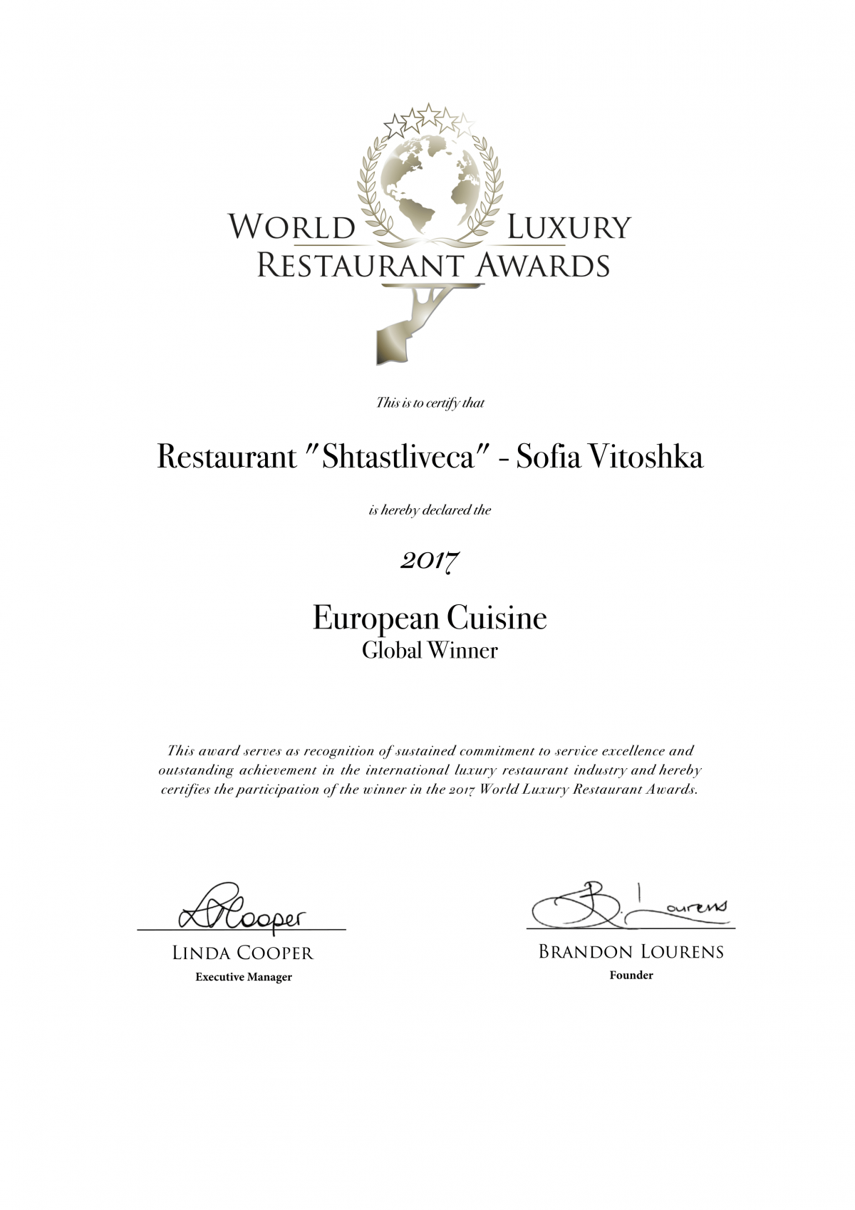 World Luxury Restaurants Awards - European Cuisine Global Winner 2017