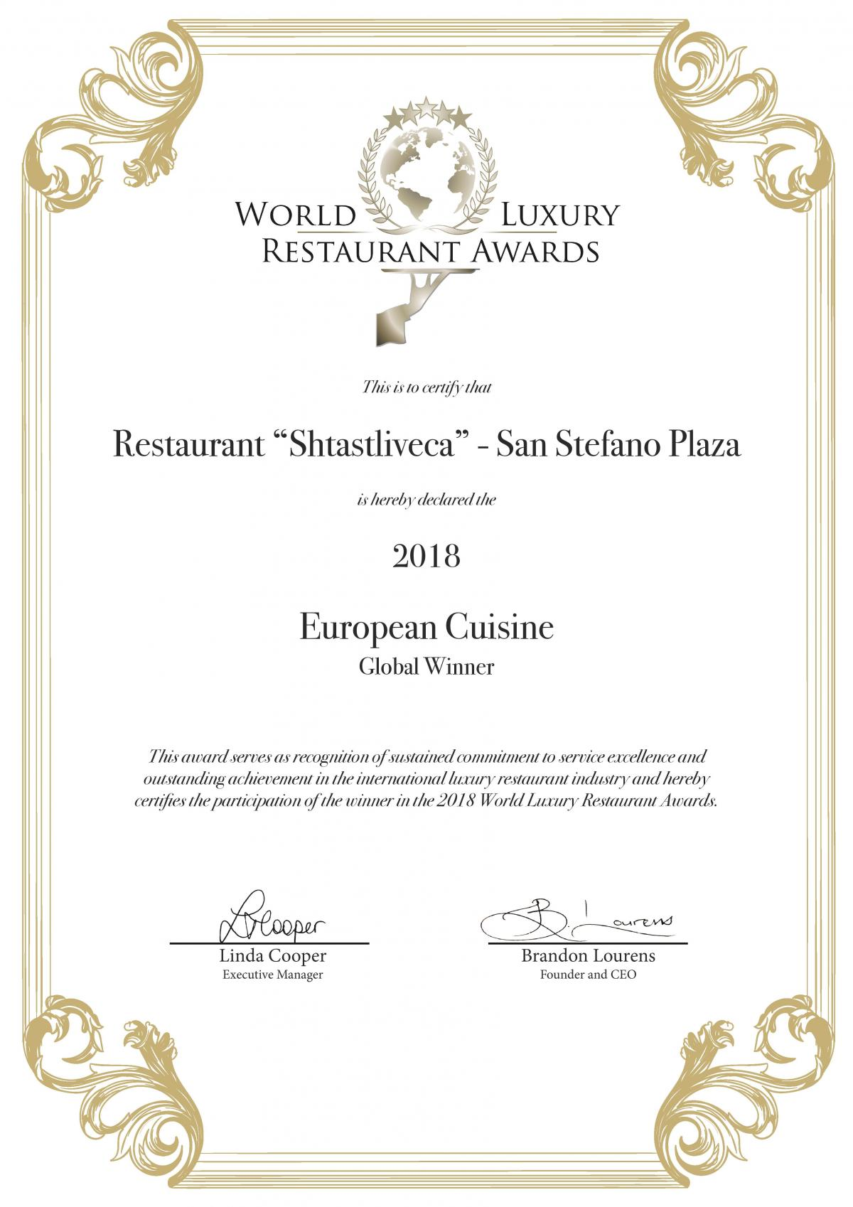 World Luxury Restaurants Awards - European Cuisine Global Winner 2018