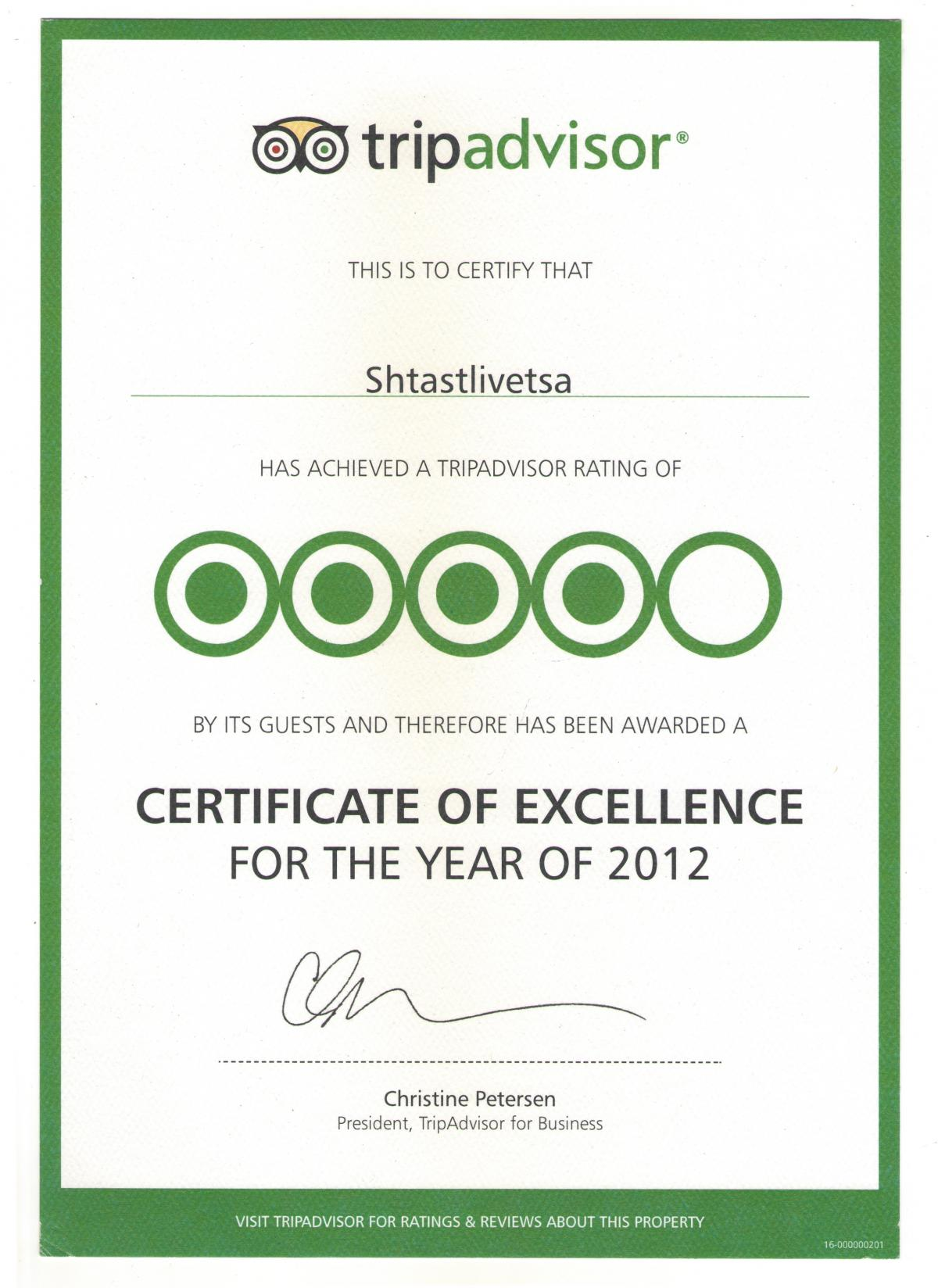 Certificate of Excellence - Tripadvisor 2012